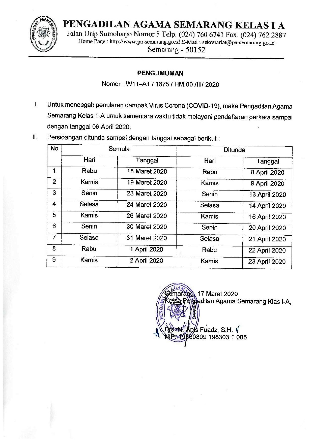 Pengumuman Penundaan Sidang Di Pengadilan Agama Semarang